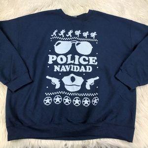 Police Navidad Ugly Christmas Crew Sweatshirt